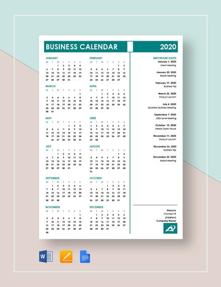 business calendar 1