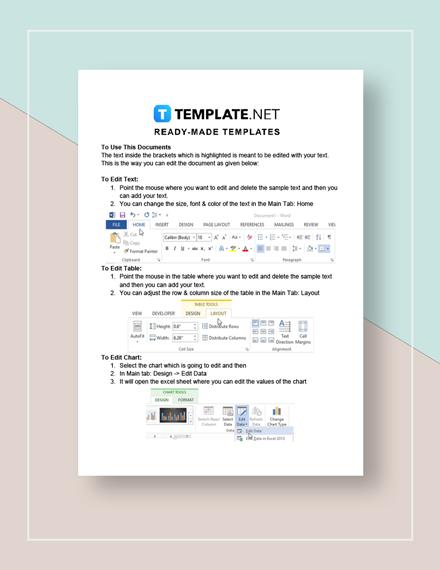 Business Calendar Template Instructions