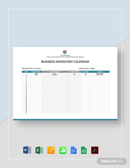 Business Inventory Calendar Template