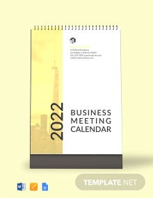 Business Meeting Desk Calendar Template