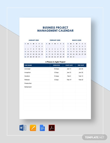 Business Project Management Calendar Template