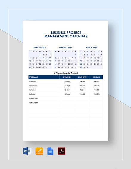 Business Project Management Calendar Template