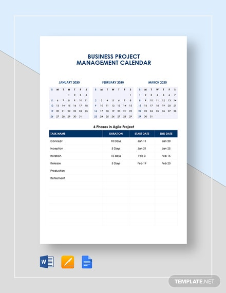 business project management calendar