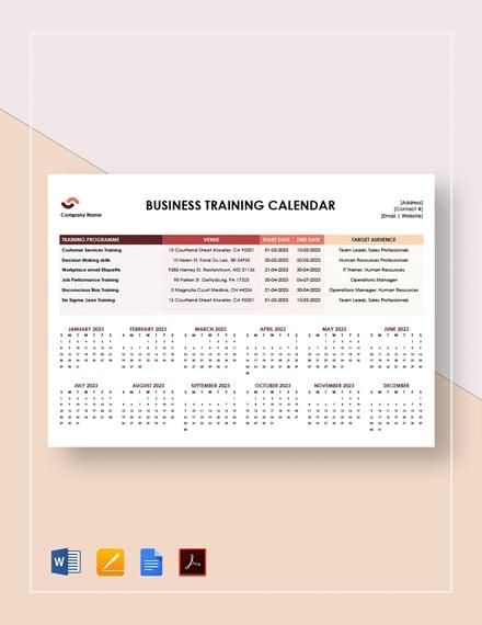 Business Training Calendar