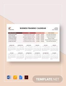 Business Training Calendar Template