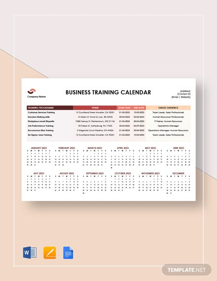 business training calendar