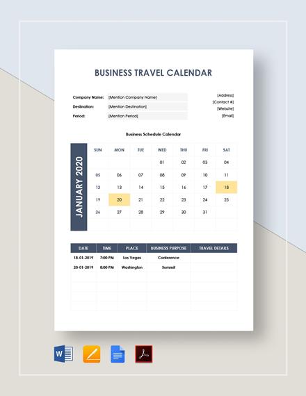Business Travel Calendar Template