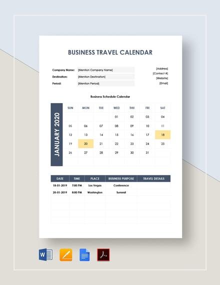 Business Travel Calendar