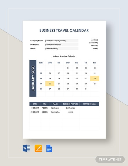 business travel calendar