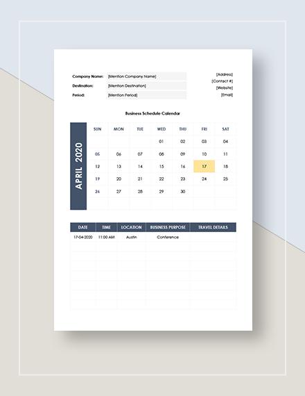 Sample Business Travel Calendar