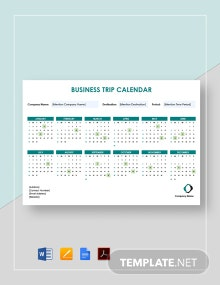 Business Trip Calendar Template