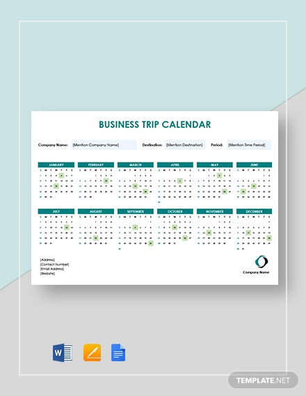 business trip calendar