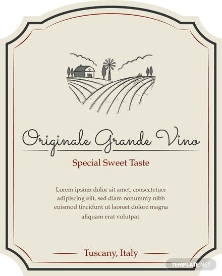 free sample wine label template  download 118  labels in illustrator