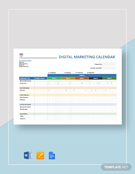digital marketing calendar 1