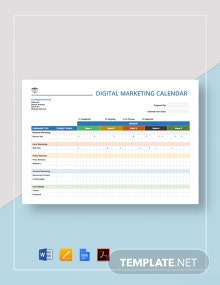 Digital Marketing Calendar Template
