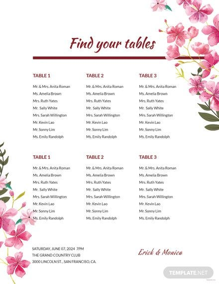free bridal shower seating chart template in adobe illustrator