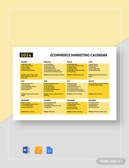 ecommerce marketing calendar 2