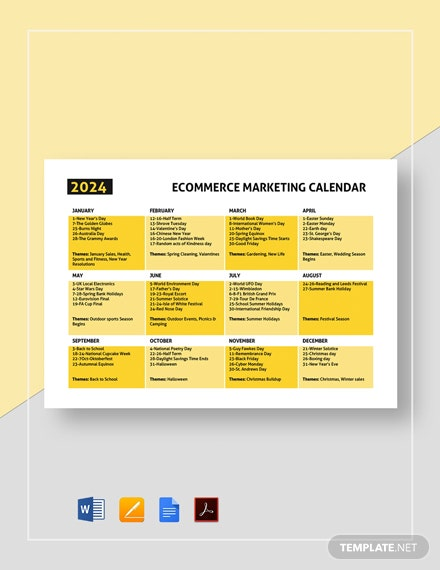 Ecommerce Marketing Calendar Template