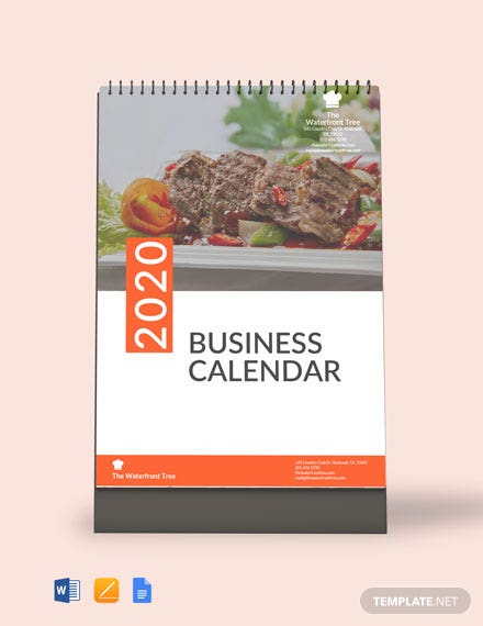 editable business calendar template