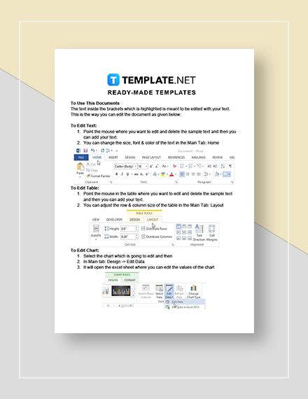 Editable School Calendar Instructions