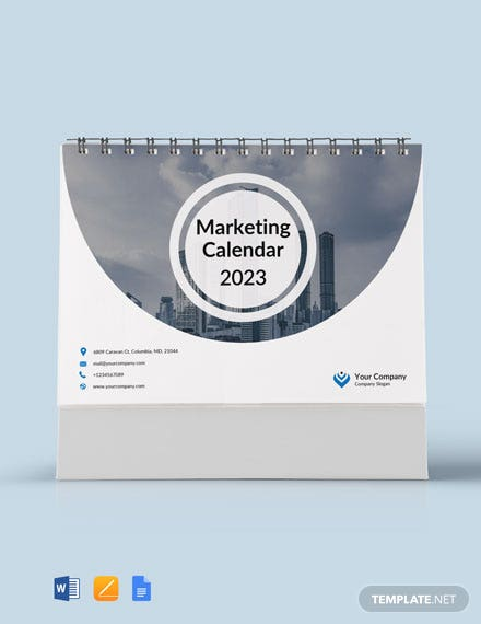Marketing Desk Calendar Template