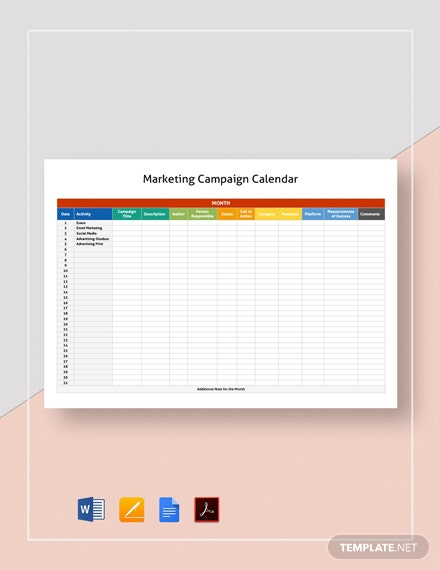 Marketing Campaign Calendar Template