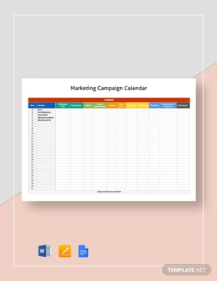 marketing campaign calendar
