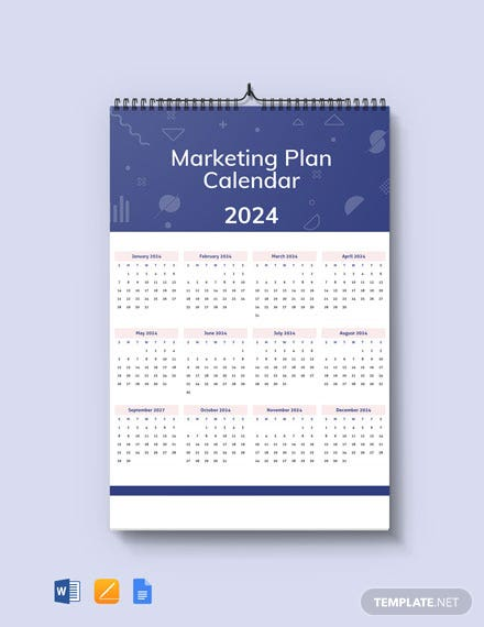 Marketing Plan Desk Calendar Template