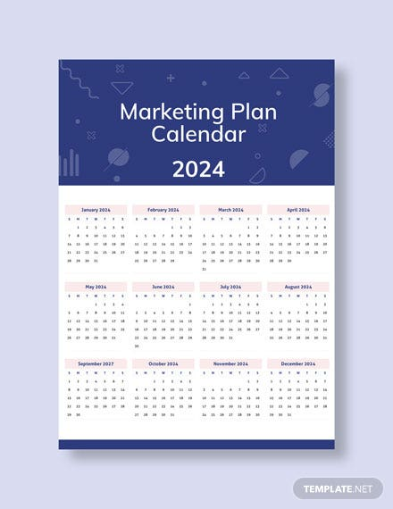 Sample Marketing Plan Desk Calendar