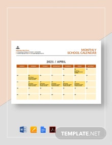 Monthly School Calendar Template