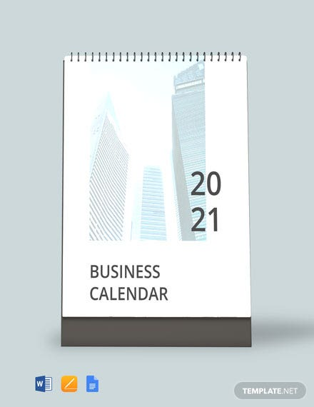 printable business calendar template