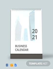 Printable Business Desk Calendar Template