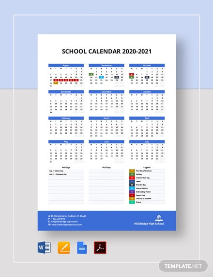 Printable School Calendar Template
