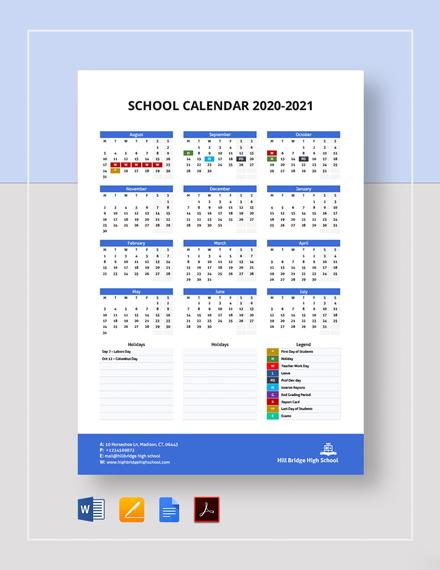 Printable School Calendar Template