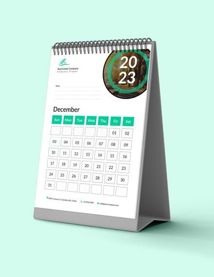 Sample Real Estate Marketing Desk Calendar