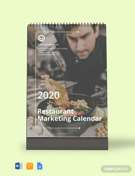 Restaurant Marketing Desk Calendar Template
