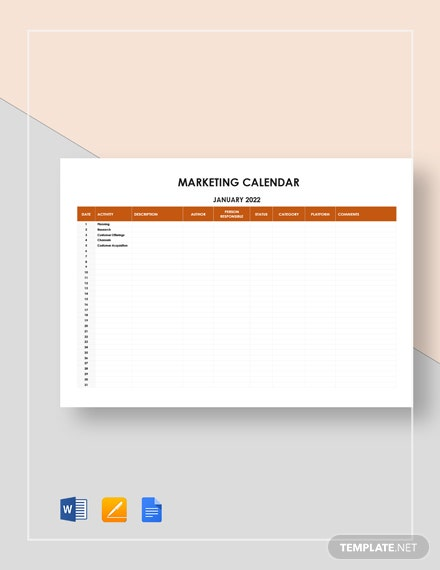 sample marketing calendar 2