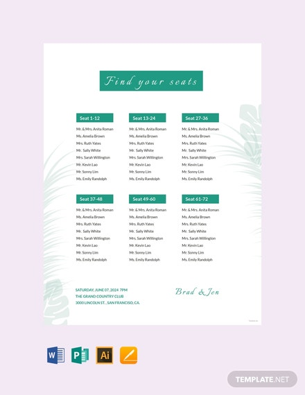 wedding reception seating chart template download 113 charts in