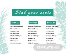 Free Wedding Reception Seating Chart Template