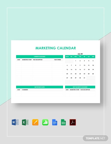 Simple Marketing Calendar Template