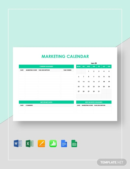 simple marketing calendar