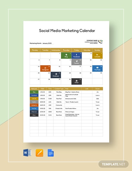 Social Media Marketing Calendar Template