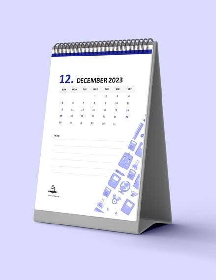 SampleStudent School Desk Calendar