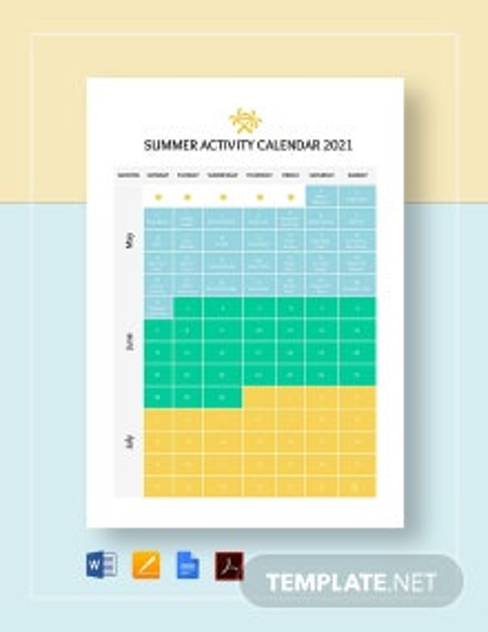 Summer Activity Calendar Template