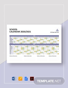 Simple School Calendar Template
