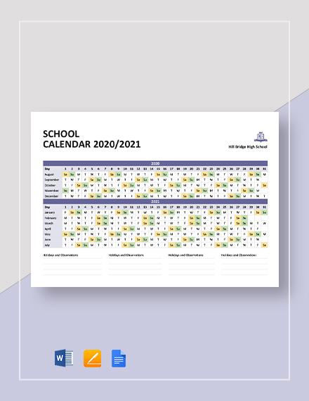 Simple School Calendar Template