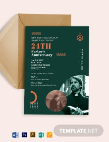 Pastors Anniversary Church Program Invitation Template