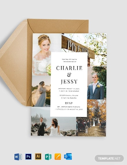 Photo Collage Wedding Invitation Template