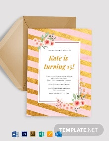 Pink and Gold Birthday Invitation Template