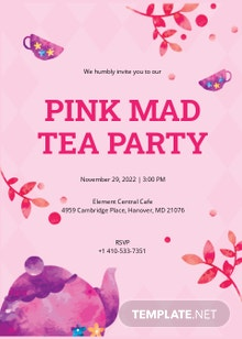 Pink Mad Tea Party Invitation Template